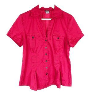 (B-04) Dots Large Red Blouse Fitted